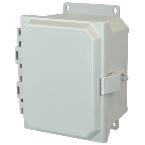 AMU864NLF | 8 x 6 x 4 Fiberglass enclosure with hinged cover and nonmetal snap latch