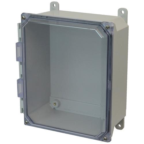 AMU864CC   8 x 6 x 4 Fiberglass enclosure with 4-screw lift-off clear cover