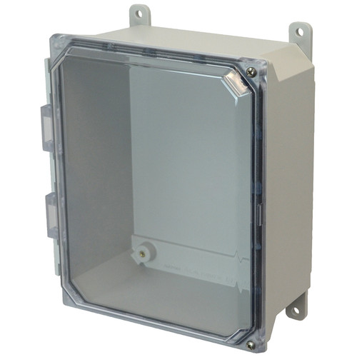 AMU864CCH | 8 x 6 x 4 Fiberglass enclosure with 2-screw hinged clear cover