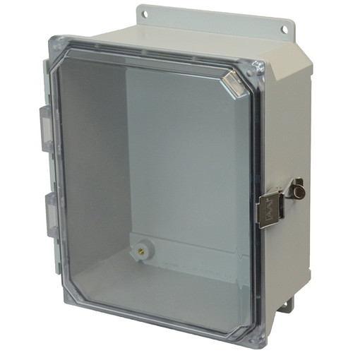 AMU864CCLF | 8 x 6 x 4 Fiberglass enclosure with hinged clear cover and snap latch