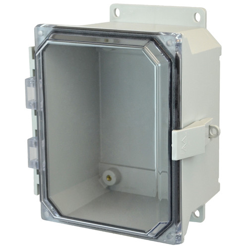 AMU864CCNLF | 8 x 6 x 4 Fiberglass enclosure with hinged clear cover and nonmetal snap latch
