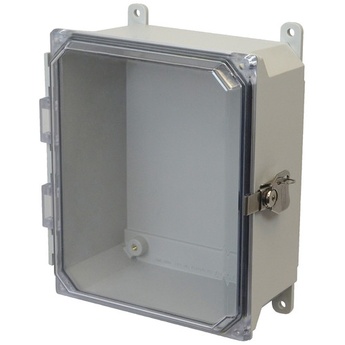 AMU864CCT | 8 x 6 x 4 Fiberglass enclosure with hinged clear cover and twist latch