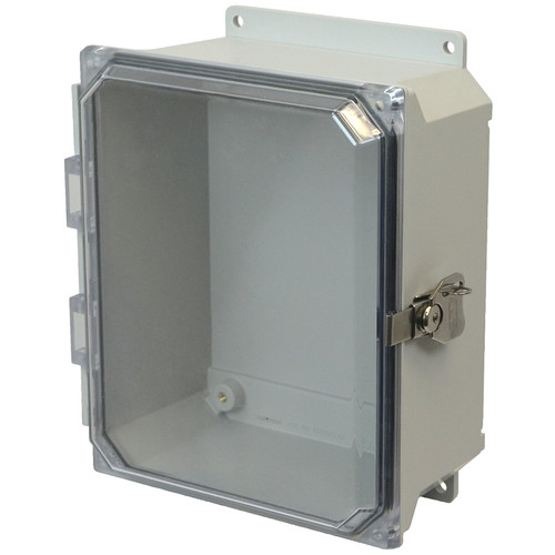 AMU1084CCTF | 10 x 8 x 4 Fiberglass enclosure with hinged clear cover and twist latch