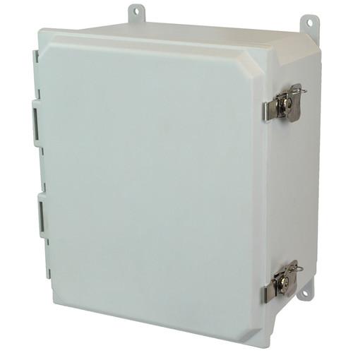 AMU1648T | 16 x 14 x 8 Fiberglass enclosure with hinged cover and twist latch