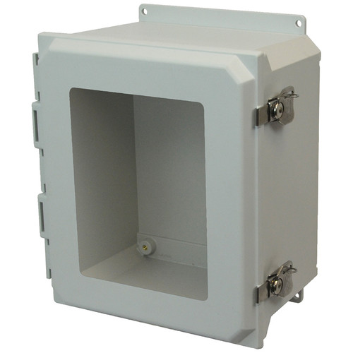 AMU1648TWF | 16 x 14 x 8 Fiberglass enclosure with hinged window cover and twist latch