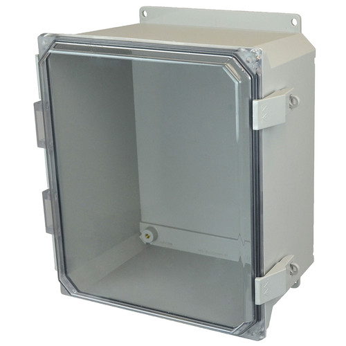 AMU1648CCNLF | 16 x 14 x 8 Fiberglass enclosure with hinged clear cover and nonmetal snap latch