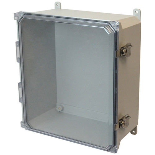 AMU1648CCT | 16 z 14 x 8 Fiberglass enclosure with hinged clear cover and twist latch