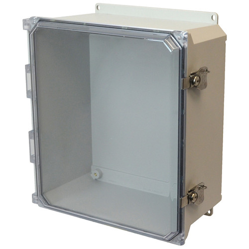 AMU1648CCTF | 16 x 14 x 8 Fiberglass enclosure with hinged clear cover and twist latch