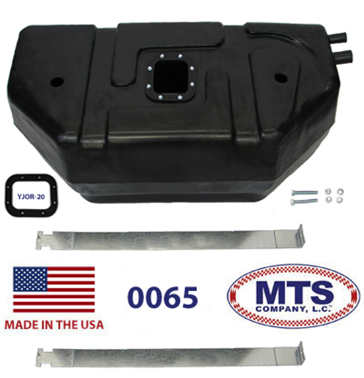JEEP YJ WRANGLER 87-95 WITH 20 GALLON PLASTIC TANK FUEL FILLER AND VENT HOSE
