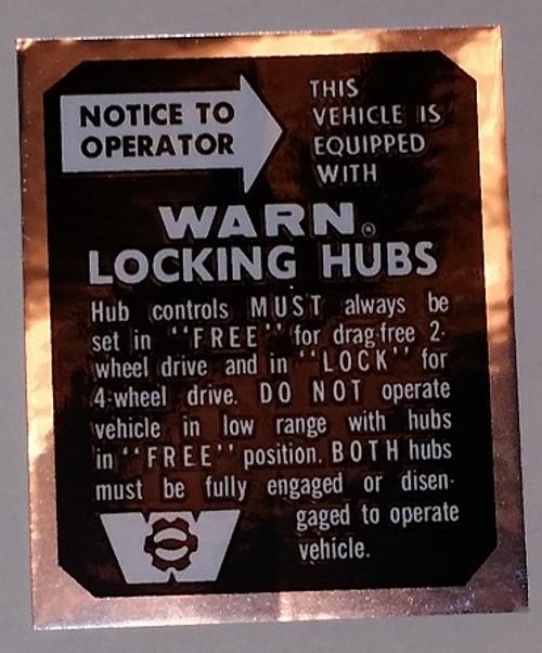 Warn Locking Hub Decal