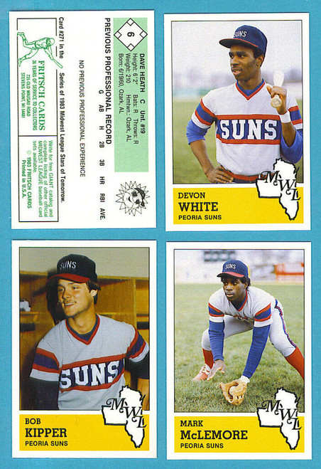 1983 Fritsch Midwest League Peoria Suns Team Set