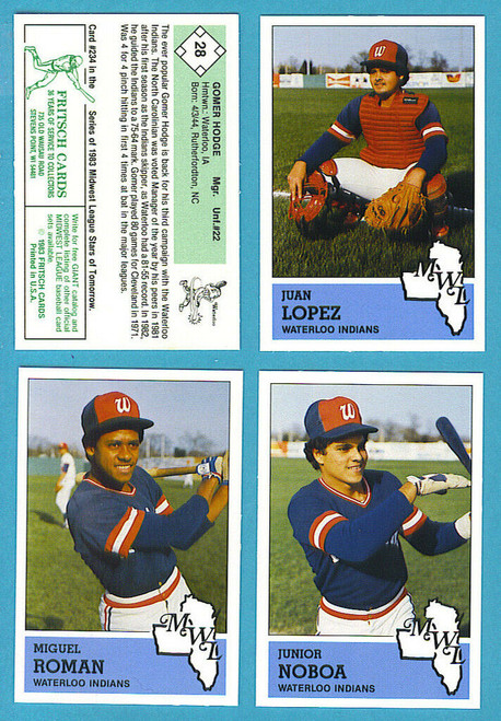 1983 Fritsch Midwest League Waterloo Indians Team Set