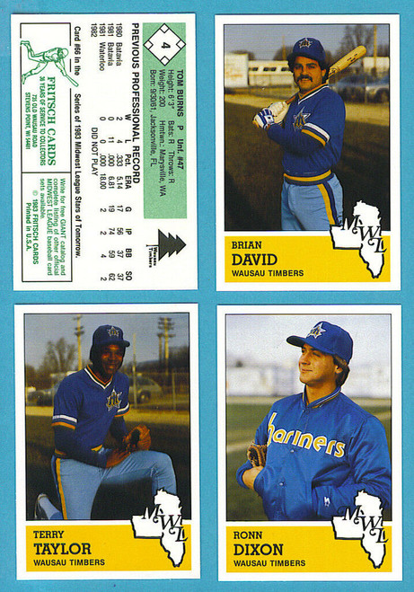 1983 Fritsch Midwest League Wausau Timbers (Mariners) Team Set