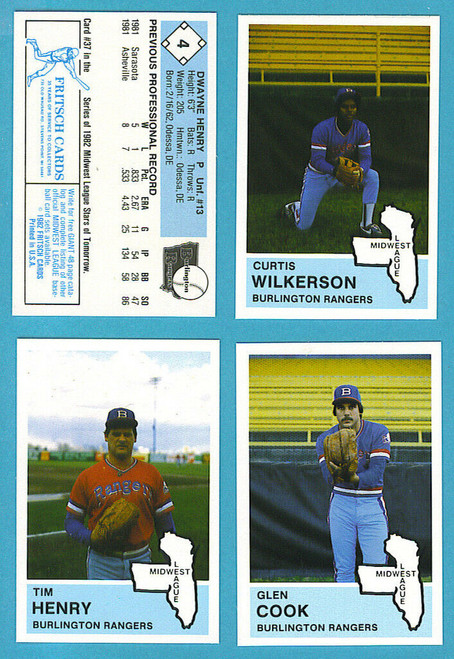 1982 Fritsch Midwest League Burlington Rangers Team Set