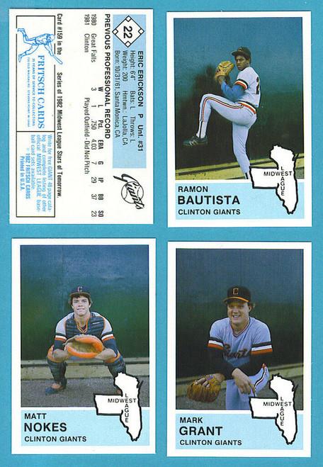 1982 Fritsch Midwest League Clinton Giants Team Set