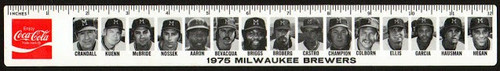 1975 White Hen Pantry/Coke Milwaukee Brewers Ruler