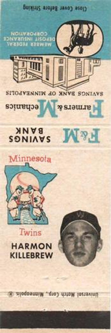 1961 F&M Bank Minnesota Twins Matchbooks