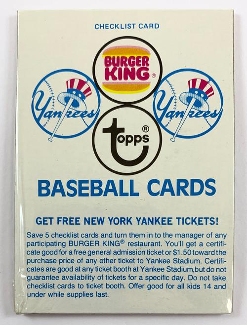 1977 Burger King Yankees Pack