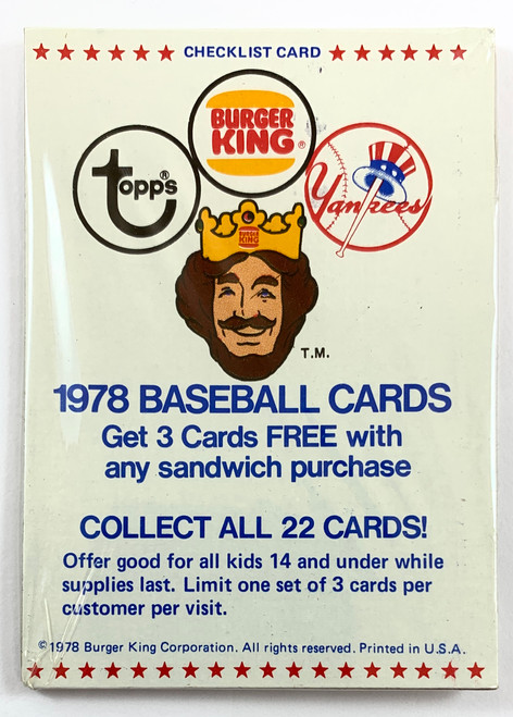 1978 Burger King Yankees Pack