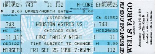 Sammy Sosa (66th Home Run) Single Game Ticket