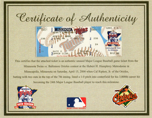Cal Ripken Jr (3,000th Hit) Single Game Ticket with COA