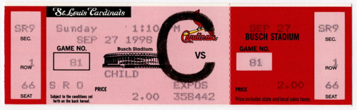 Mark McGwire (69th & 70th Home Run) Single Game Ticket