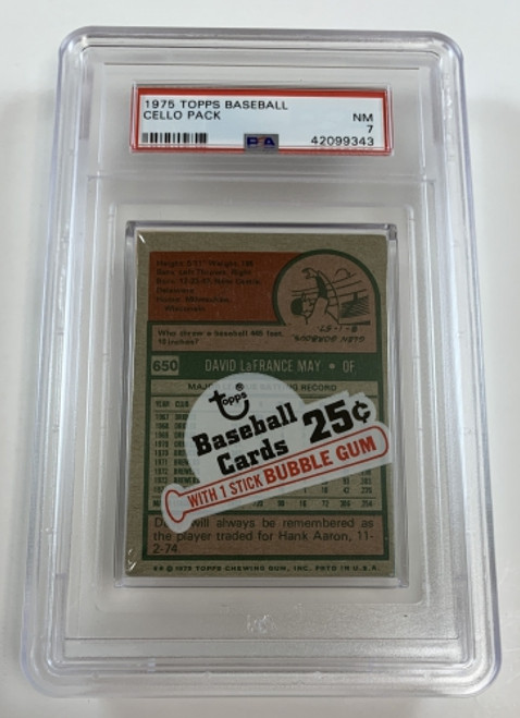 1975 Topps Baseball Cello Pack May FD / Dent PSA 7 NM