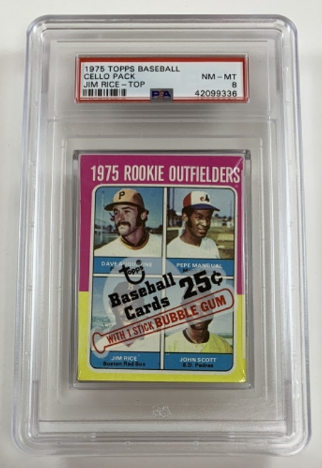 1975 Topps Baseball Cello Pack Rookie Outfielders (Rice) / Geronimo PSA 8 NM-MT