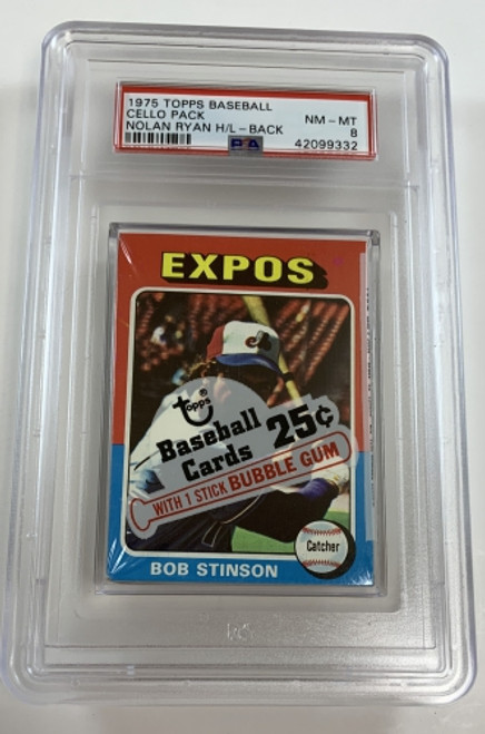 1975 Topps Baseball Cello Pack Stinson / Ryan Highlights PSA 8 NM-MT