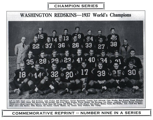 1937 Washington Redskins Champion Series Commemorative Photo