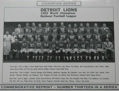 1952 Detroit Lions Champion Series Commemorative Photo