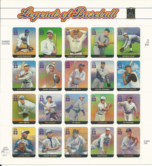 Legends of Baseball Stamp Sheet
