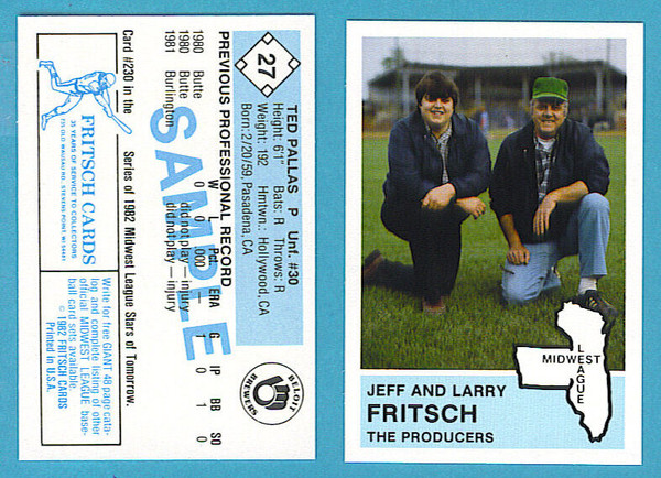 1982 Fritsch Midwest League  Samples & Extras Team Set