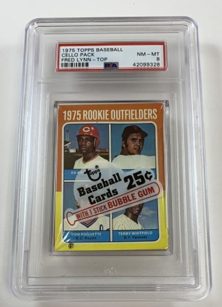 1975 Topps Baseball Cello Pack Rookie Outfielders (Lynn) / Foli PSA 8 NM-MT