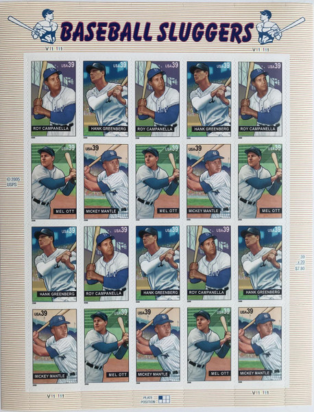 Baseball's Sluggers Stamp Sheet