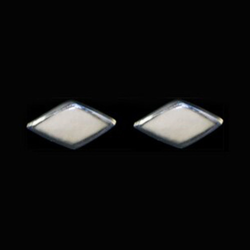 Diamond Shape Mammoth Ivory Sterling Silver Cup Earring