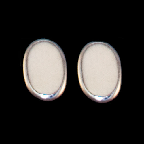 Oval Mammoth Sterling Silver Cup Earring