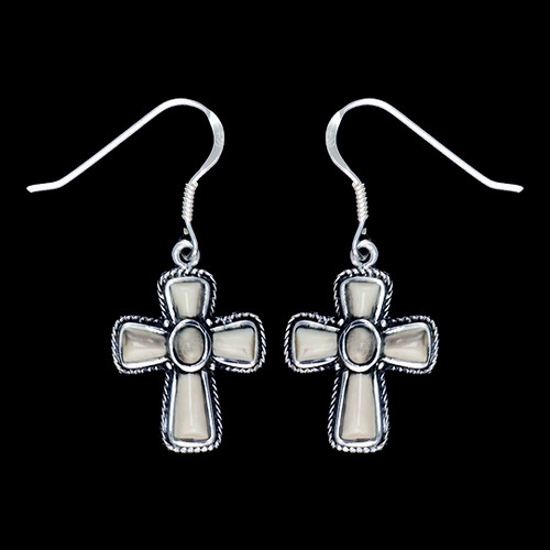 Cross Mammoth Ivory Sterling Silver French Wire Earring