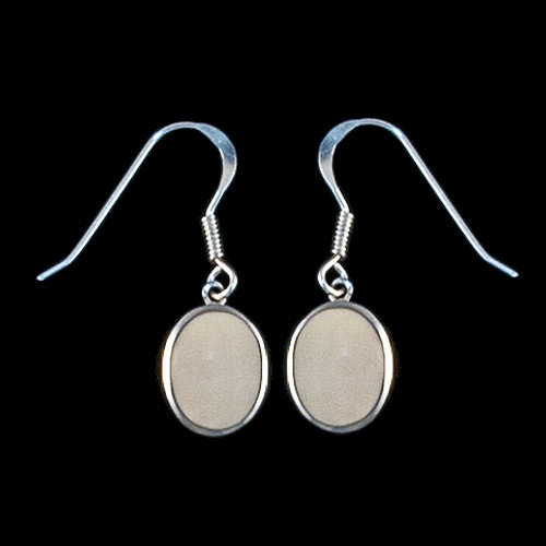 Oval Mammoth Ivory Sterling Silver Cup French Wire Earring