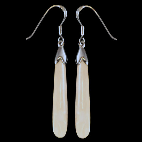 Long Oval Mammoth Ivory Sterling Silver French Wire Earring