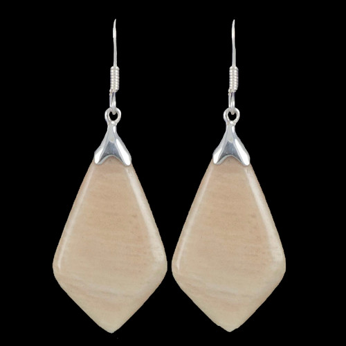 Large Tie Drop Mammoth Ivory Sterling Silver French Wire Earring