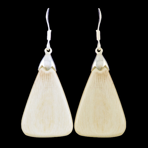 Large Triangle Mammoth Ivory Sterling Silver French Wire Earring