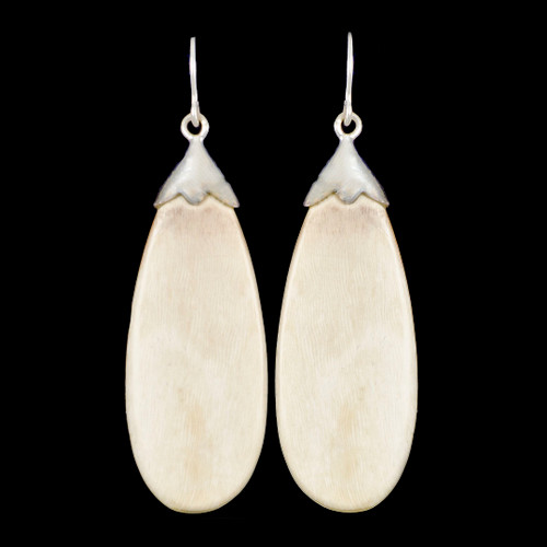 Large Oval Mammoth Ivory Sterling Silver Sterling Silver French Wire Earrings