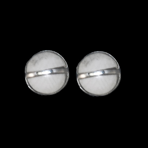 Round Mammoth Sterling Silver Cup Bar Earring