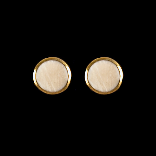 Round Mammoth Ivory 14K Gold Cup Earring