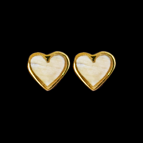Small Heart Mammoth Ivory 14K Gold Cup Earring