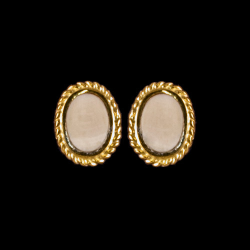 Oval Mammoth Ivory with 14K Gold Rope Earring