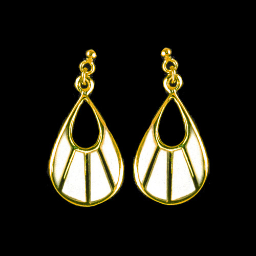 Fan Shaped Mammoth Ivory with 14K Gold Bars Earring
