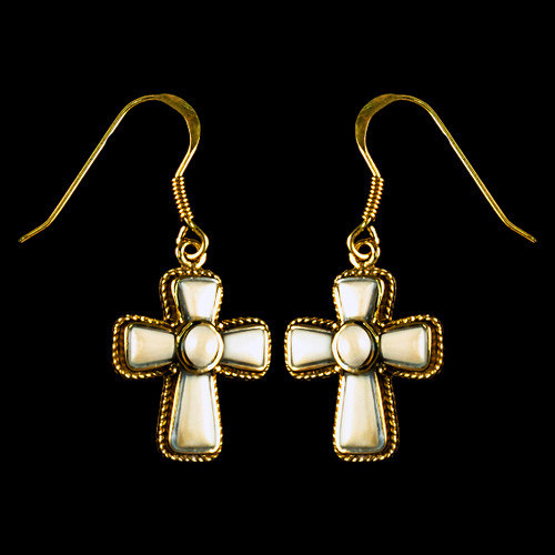 Cross Mammoth Ivory 14K Gold French Wire Earring