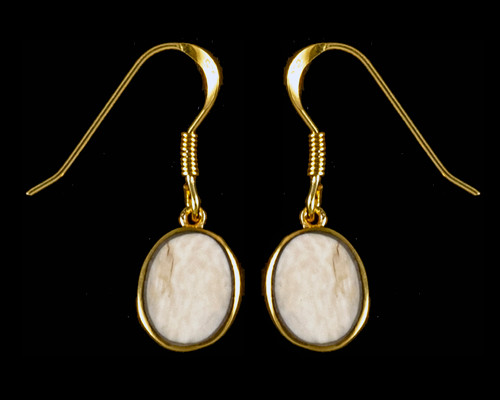 Oval Mammoth Ivory 14K Gold Cup French Wire Earring